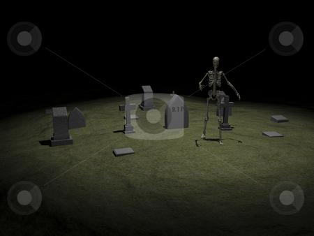 Skeleton stock photo, Skeleton in grave yard 2 3D image. by John Teeter