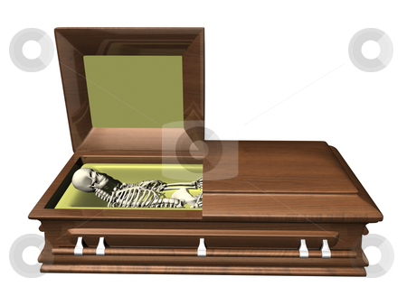 Skeleton in coffin - side view on white stock photo, Skeleton in coffin - side view on white background - 3D by John Teeter