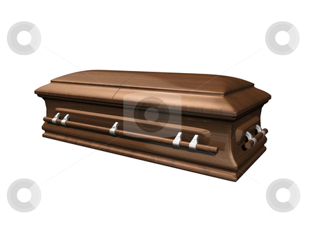Casket side view on white stock photo, Casket side view on white background 3D. by John Teeter