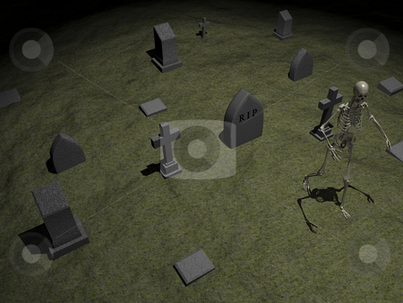 Skeleton stock photo, Skeleton in grave yard 3. 3D image. by John Teeter
