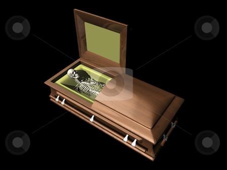 Skeleton in casket on black stock photo, Skeleton in casket on black background - 3D. by John Teeter