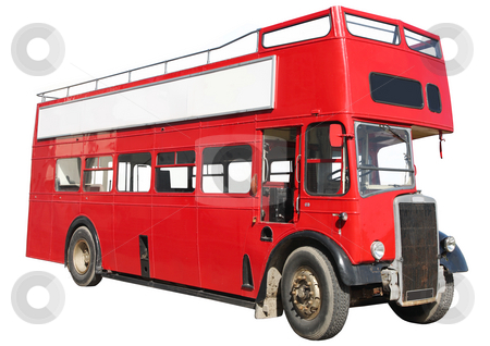 Old fashioned London red double-decker bus stock photo, Old fashioned London red double-decker sightseeing open top bus, isolated on a white background. by Stephen Rees