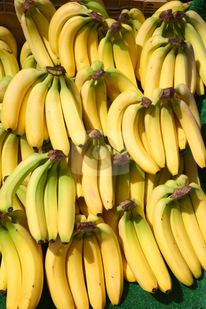 Lots of bunches of bananas outside a greengrocer shop. stock photo, Lots of bunches of bananas outside a greengrocer shop. by Stephen Rees