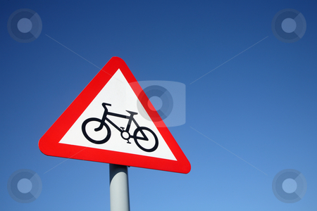 British cycle route ahead warning sign and a big blue sky. stock photo, British cycle route ahead warning sign and a big blue sky. by Stephen Rees