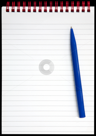 A notepad with red rings and a blue pen on a black background. stock photo, A notepad with red rings and a blue pen on a black background. by Stephen Rees