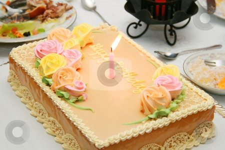 Birthday cake stock photo, Chiffon birthday cake with colorful flower icings by Jonas Marcos San Luis