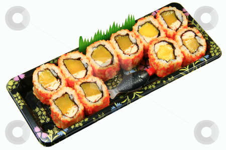 California maki stock photo, Japanese california maki isolated on white background by Jonas Marcos San Luis