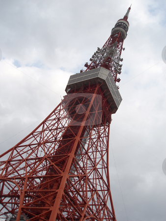 Tokyo tv tower stock photo, Iconic red landmark 'tv tower' in tokyo, japan by Stephen Gibson