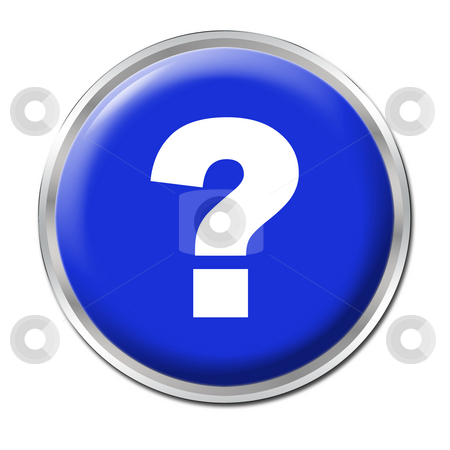Help Button stock photo, Blue round button with the question mark symbol by Petr Koudelka