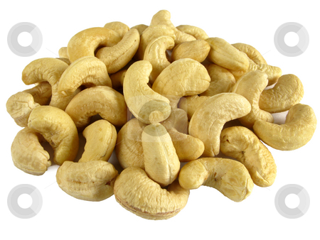 Cashew nuts isolated on a white background. stock photo, Cashew nuts isolated on a white background. by Stephen Rees