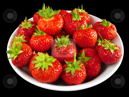 Strawberries in a white bowl isolated over black. stock photo, Strawberries in a white bowl isolated over black. by Stephen Rees