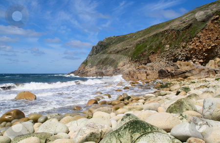 The rocky beach at Porth Nanven, Cornwall, UK. stock photo, The rocky beach at Porth Nanven, Cornwall, UK. by Stephen Rees