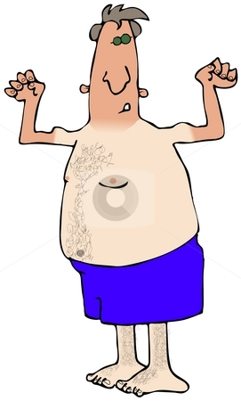 First Sun stock photo, This illustration depicts a man with his winter skin showing through. by Dennis Cox