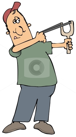 Man Shooting A Slingshot stock photo, This illustration depicts a man aiming a slingshot. by Dennis Cox