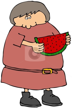 Girl Eating Watermelon stock photo, This illustration depicts a girl eating a large slice of watermelon. by Dennis Cox