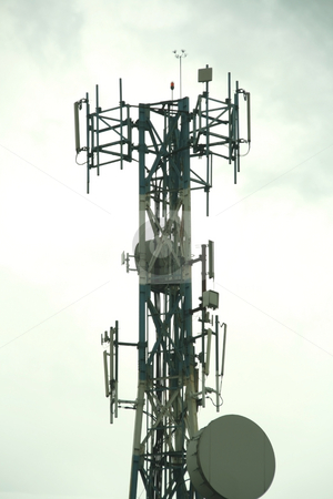 Cellular tower 2 stock photo, Cellular communication tower on a cloudy day by Jonas Marcos San Luis