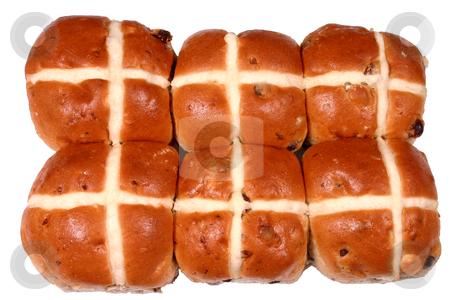 Six Easter hot cross buns stock photo, Six Easter hot cross buns by Stephen Rees