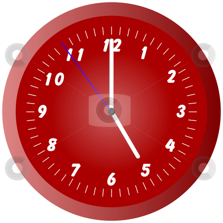 Red wall clock illustration at 5pm/am stock photo, Red wall clock illustration at 5pm/am by Stephen Rees