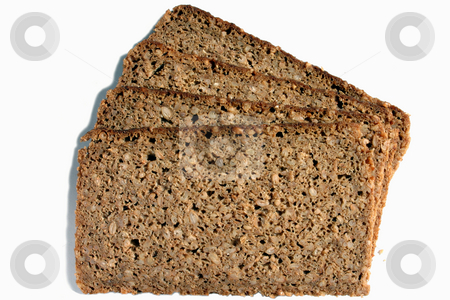 Slices of wholemeal rye bread, isolated on a white background stock photo, Slices of wholemeal rye bread, isolated on a white background by Stephen Rees