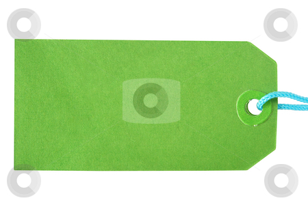 Green label tag on a white background. stock photo, Green label tag on a white background. by Stephen Rees