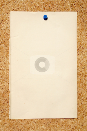 A old brown piece of paper pinned to a cork niticeboard. stock photo, A old brown piece of paper pinned to a cork niticeboard. by Stephen Rees