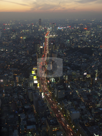 Tokyo from above stock photo, A view of tokyo from above at dusk by Stephen Gibson