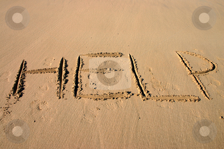 HELP written in the sand stock photo, HELP written in the sand by Stephen Rees