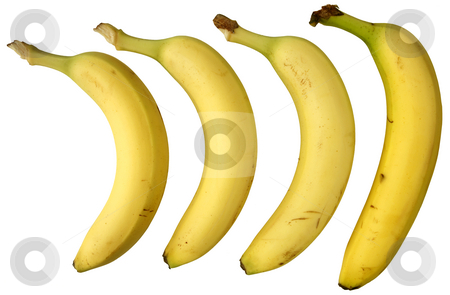 Four bananas isolated on white background. stock photo, Four bananas isolated on white background. by Stephen Rees
