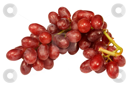 A bunch of red grapes.