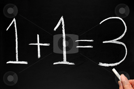 Writing 1+1=3 on a blackboard. stock photo, Writing 1+1=3 on a blackboard. by Stephen Rees