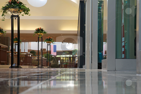 Shopping mall - bright and clean but empty  stock photo, Modern shopping mall with no people present by Mitch Aunger