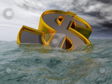 Sinking Dollar stock photo, A CG dollar sign sinks beneath the waves of devaluation. by Allan Tooley