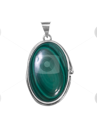 Emerald pendant stock photo, Emerald pendant on white isolated background by Adrian Costea