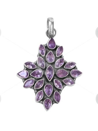 Pendant3 stock photo, Purple gem pendant on white isolated background by Adrian Costea
