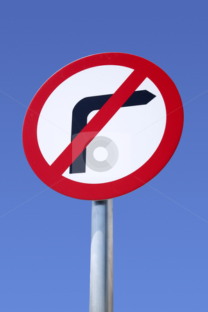 British road sign stock photo, No right turn British road sign. by Stephen Rees