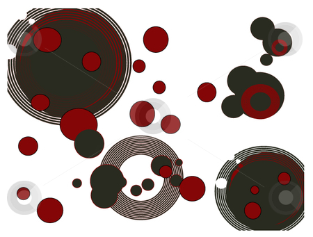 Many vector circles background stock vector clipart, Background of several vector circle shapes colored red and black over white by Michelle Bergkamp