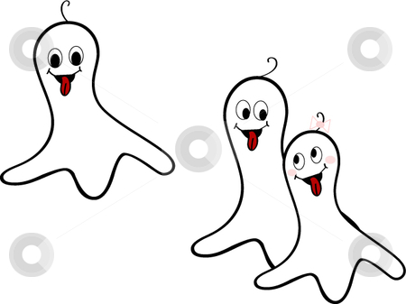 Cute cartoon vector ghosts stock vector clipart, Cut cartoon vector happy ghost siblings 2 boys and a girl by Michelle Bergkamp