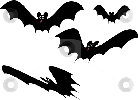 Vector spooky Halloween bats stock vector clipart, Spooky vector style cute Halloween cartoon bats by Michelle Bergkamp