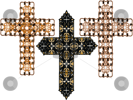 Set of celtic style vector crosses or crucifix stock vector clipart, Set of ornamental celtic style vector crucifix crosses, by Michelle Bergkamp