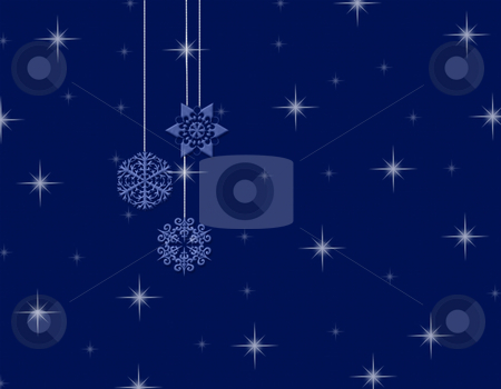 Dangling snowflake background stock photo, Dangling snowflake background with stars in the background by Michelle Bergkamp