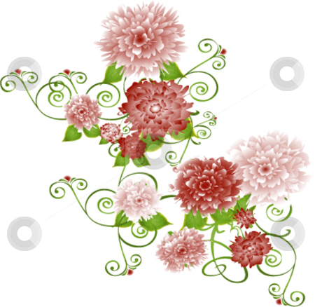 Vector flowers and vines on white stock vector clipart, Vector illustration red/pink/mauve flowers on vines by Michelle Bergkamp