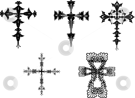 Vector cross set stock vector clipart, Ornamental cross  crucifix vector illustrations by Michelle Bergkamp