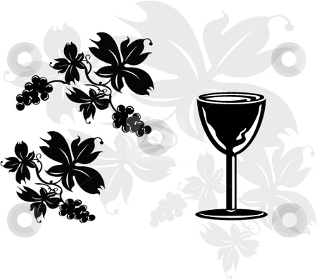 The winery stock vector clipart, Vector whine glass and grape leaves artwork by Michelle Bergkamp
