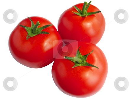 Three tomatoes isolated over a white background. stock photo, Three tomatoes isolated over a white background. by Stephen Rees