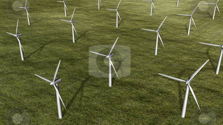 3D wind turbine farm stock photo, 3D wind turbine farm top view by John Teeter