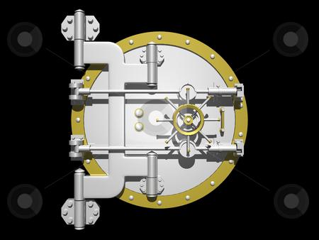 Vault Door stock photo, Steel vault door closed on a black background by John Teeter