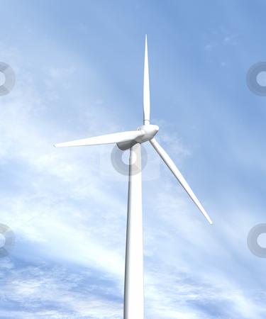 Wind turbine in sky looking up side view stock photo, Wind turbine in sky looking up side view 3D image by John Teeter