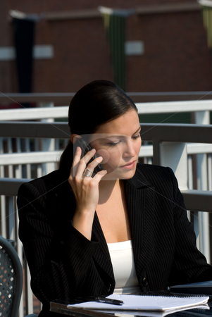 Female business person with phone stock photo, A young attractive female business professional on a cell phone by Vince Clements