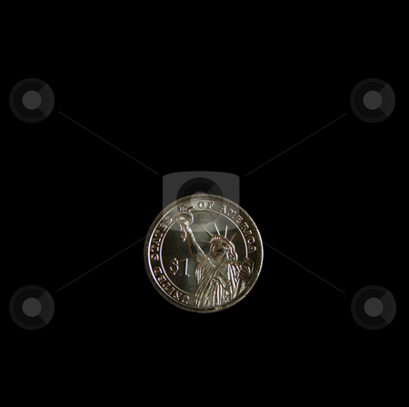 Statue of Liberty Coin stock photo, A one dollar statue of liberty US coin by Kevin Tietz