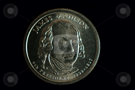 James Madison Coin stock photo, A one dollar James Madison  US coin by Kevin Tietz